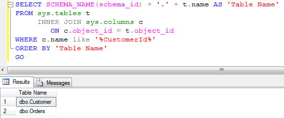 Find all tables that have specified column name in Sql Server