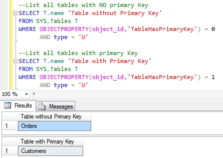 List_All_Tables_With_And_Without_Primary_Keys