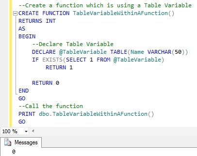 FUNCTION Table Variable