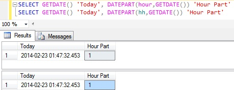 Hour Part of DateTime in Sql Server