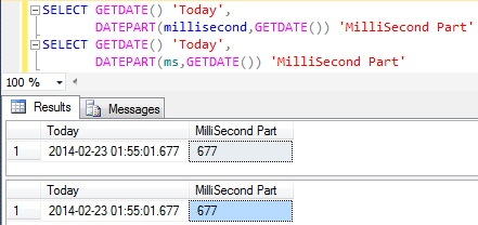 MilliSecond Part Of DateTime in Sql Server