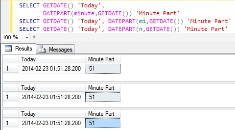 Minute Part of DateTime in Sql Server