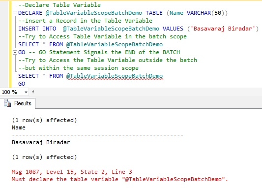 Scope Of Table Variables Is The Batch1