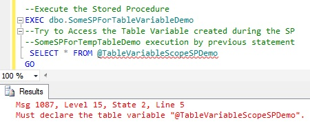 Scope of Table Variable Created within Stored Procedure1