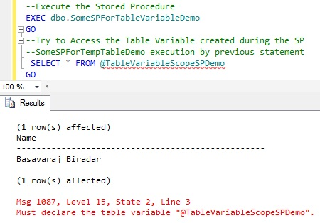 Scope of Table Variable Created within Stored Procedure2