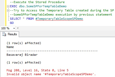 Scope of Temporary Table Created within Stored Procedure