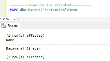 Scope of Temporary Table in Nested Stored Procedure