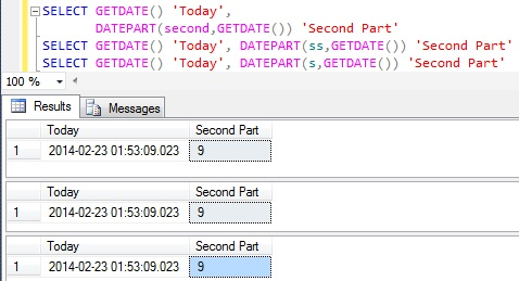 Second Part of DateTime in Sql Server