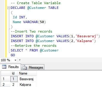 Syntax Table Variable1