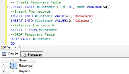 Syntax Temporary Table Example