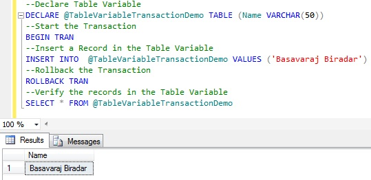 Transaction Table Variable