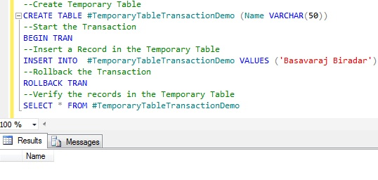 Transaction Temporary Table