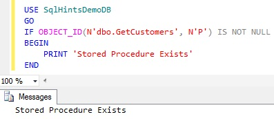 Check Stored Procedure Existence using OBJECT_ID function