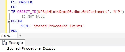 Check Stored Procedure Existence using OBJECT_ID function2