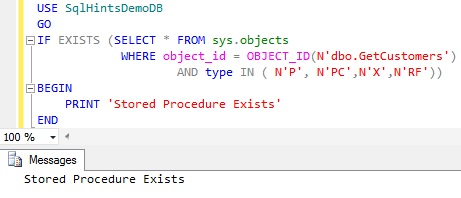 Check Stored Procedure Existence using sys.objects