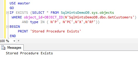 Check Stored Procedure Existence using sys.objects2