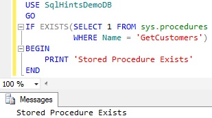 Check Stored Procedure Existence using sys.procedures