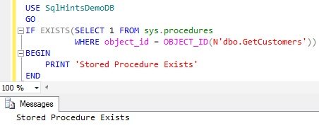 Check Stored Procedure Existence using sys.procedures2