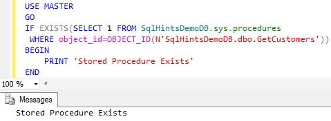 Check Stored Procedure Existence using sys.procedures3