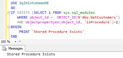 Check Stored Procedure Existence using sys.sql_modules