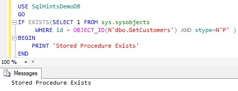 Check Stored Procedure Existence using sys.sysobjects