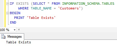 Check Table Existance Using INFORMATION_SCHEMA view