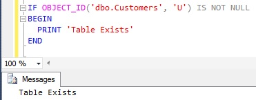 Check Table Existance Using OBJECT_ID() Function