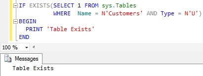 Check Table Existance Using Sys.Tables Catalog view
