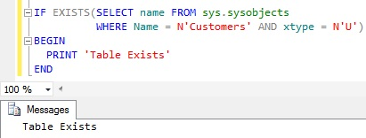Check Table Existance Using Sys.sysobjects System Table