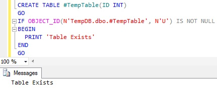 Check Temporary Table Existence Using OBJECT_ID() Function1