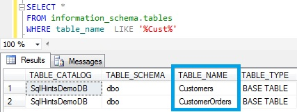 Table Name Like in Sql Server Using information_schema.tables