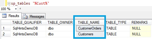 Table Name Like in Sql Server Using sp_tables