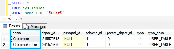 Table Name Like in Sql Server Using sys.tables