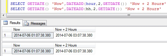 Add Hours to DateTime in Sql Server