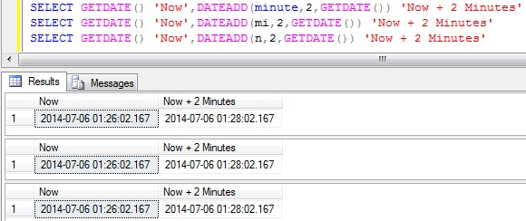 Add Minutes to DateTime in Sql Server 1