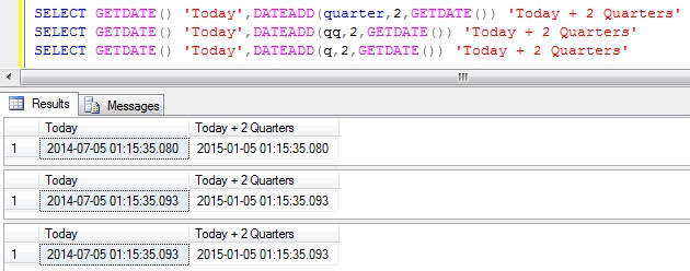 Add Quarters to DateTime in Sql Server