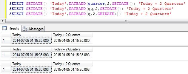 Add Quarters to DateTime in Sql Server