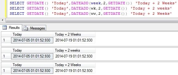 Add Weeks to DateTime in Sql Server 1