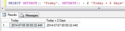 Add days to DateTime in Sql Server 1