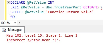 Incorrect syntax near ) Error