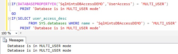How ti Check Database is in MULTI_USER mode