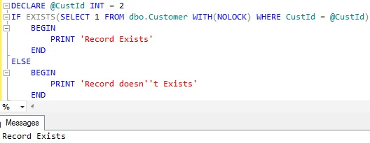 Check if record exists in a table in Sql Server 1