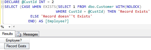 Check if record exists in a table in Sql Server 2