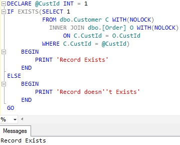 Check if record exists in a table in Sql Server 4