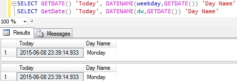 Day or weekday name from Date Sql Server 1
