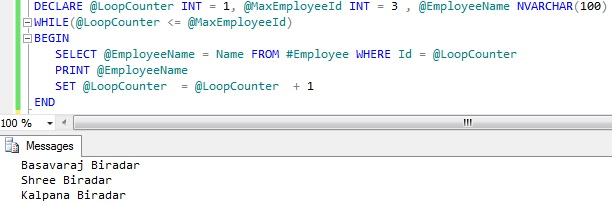 Looping through table records Sql Server 1