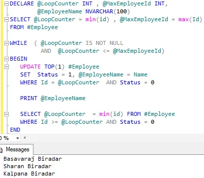 Looping through table records Sql Server 10