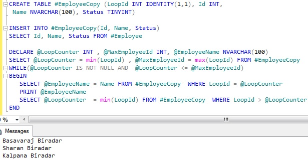 Looping through table records Sql Server 11