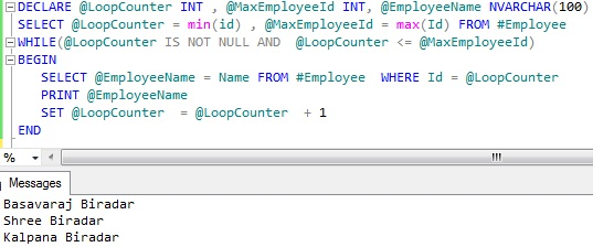 Looping through table records Sql Server 2