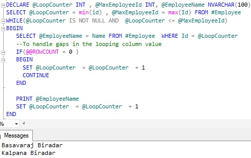 Looping through table records Sql Server 7